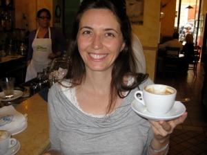Simone's first cappuccino